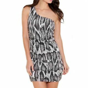 Guess One Shoulder Fitted Silhouette Spandex Dress